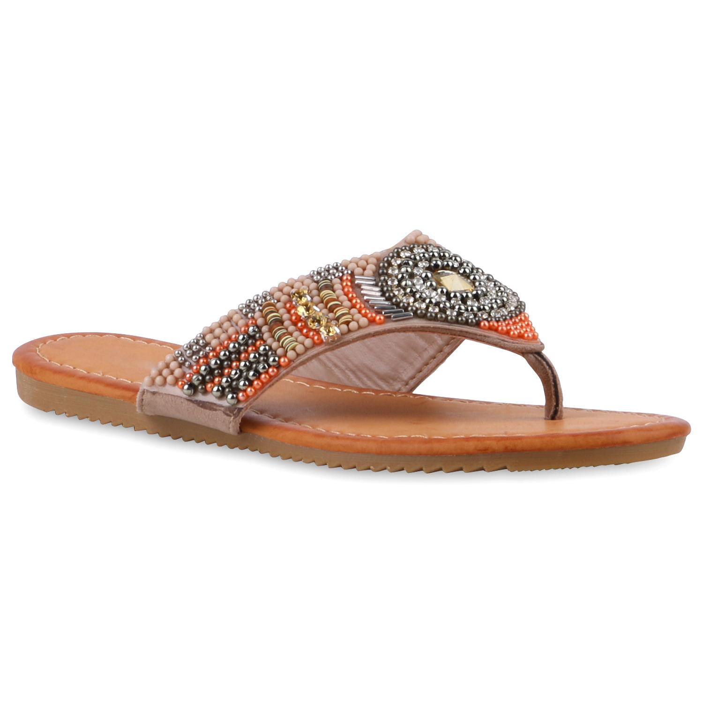 zehentrenner damen strass sandalen perlen sommer schuhe. Black Bedroom Furniture Sets. Home Design Ideas