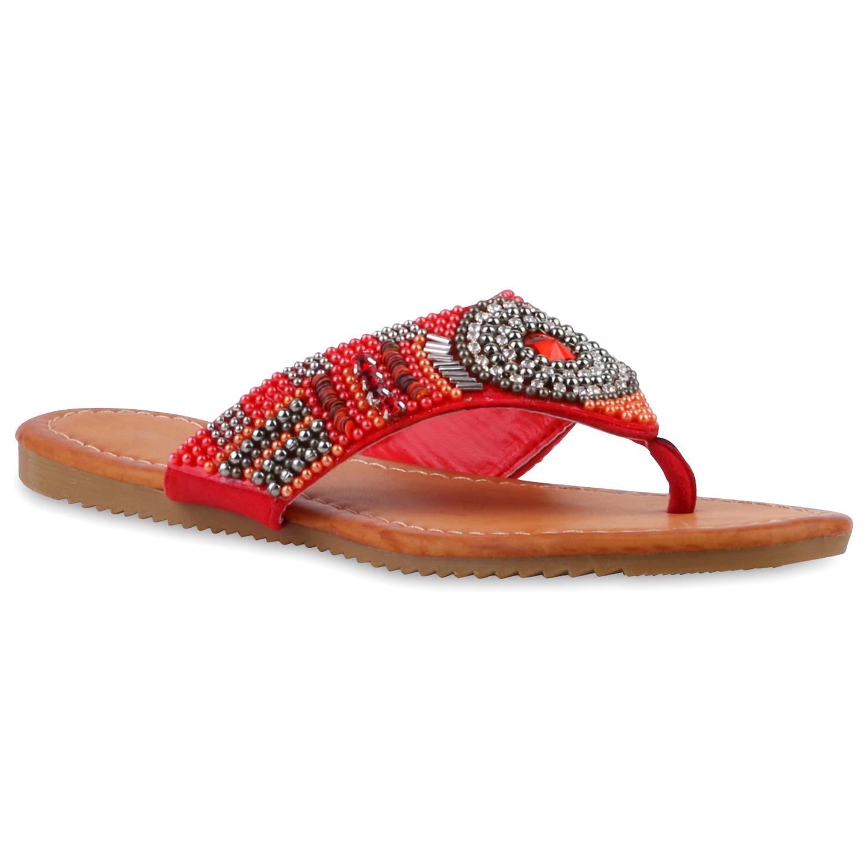 zehentrenner damen strass sandalen perlen sommer schuhe 811390 trendy ebay. Black Bedroom Furniture Sets. Home Design Ideas