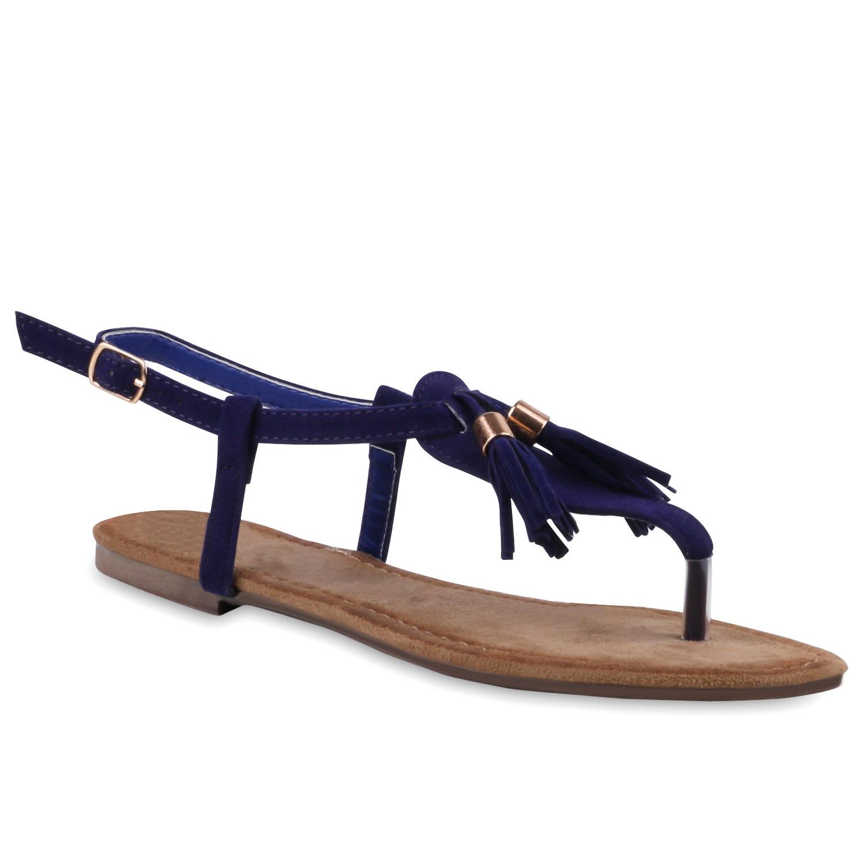modische damen sandalen quasten zehentrenner sommer schuhe 811506 ebay. Black Bedroom Furniture Sets. Home Design Ideas