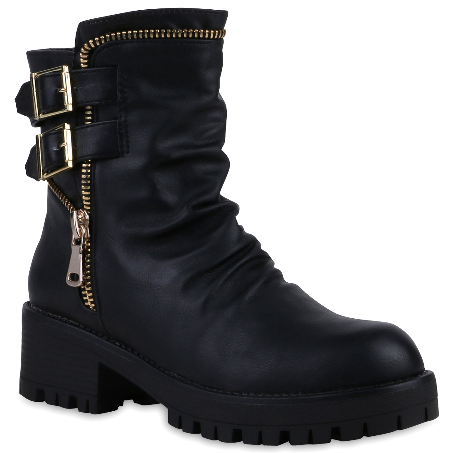 damen biker boots zipper stiefeletten schnallen profil. Black Bedroom Furniture Sets. Home Design Ideas