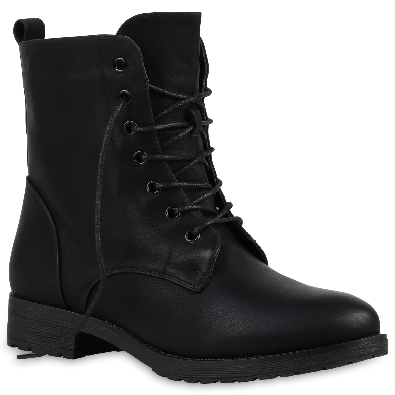 damen stiefeletten schn rstiefeletten worker boots schuhe. Black Bedroom Furniture Sets. Home Design Ideas