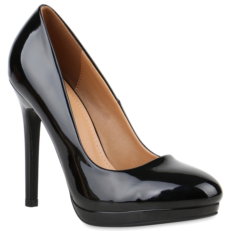 damen lack high heels plateau pumps party abend schuhe. Black Bedroom Furniture Sets. Home Design Ideas