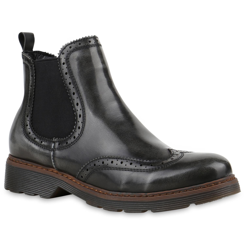 damen chelsea boots profil sohle lochmuster stiefeletten 811834 top ebay