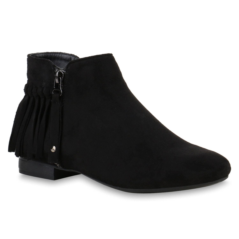damen ankle boots fransen zipper stiefeletten lederoptik. Black Bedroom Furniture Sets. Home Design Ideas