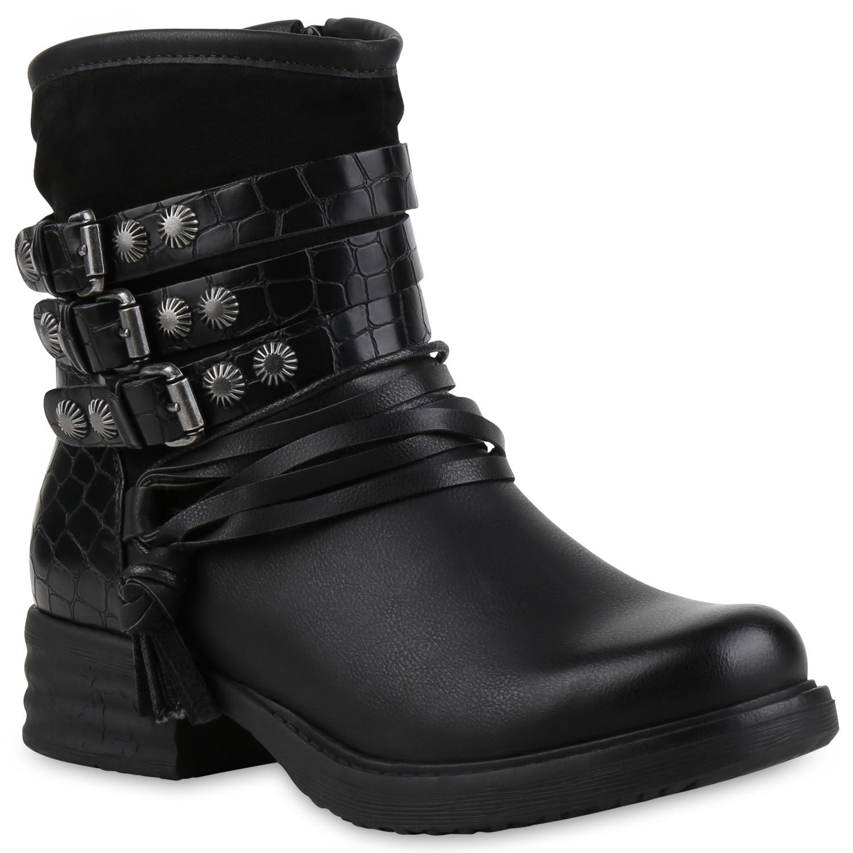 gef tterte damen biker boots nieten stiefeletten schnallen. Black Bedroom Furniture Sets. Home Design Ideas