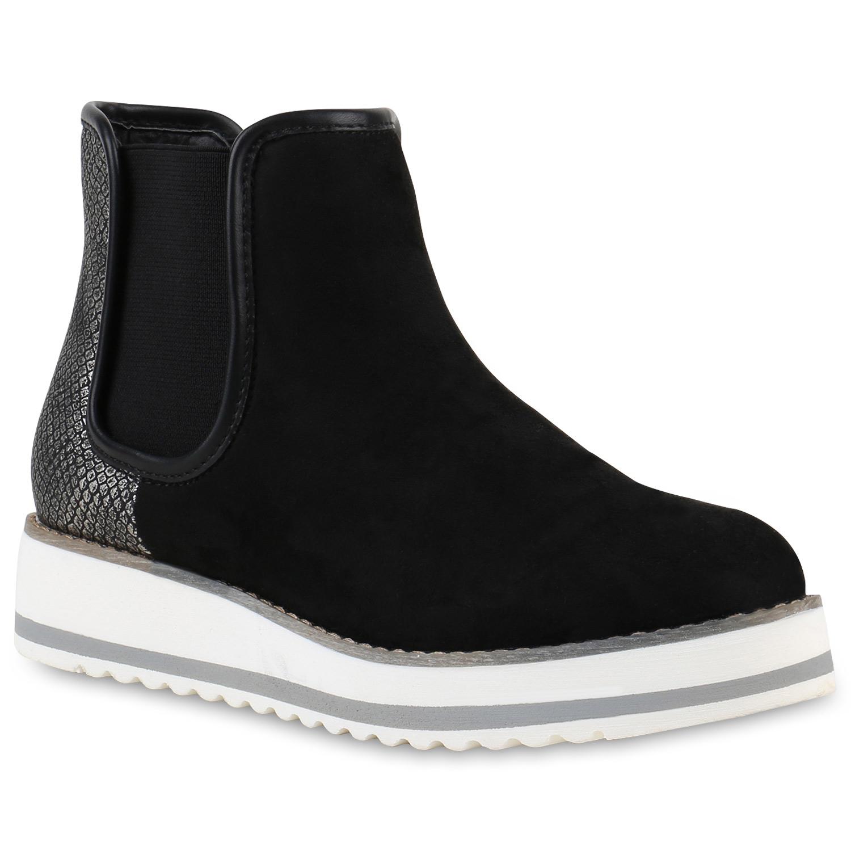 damen chelsea boots prints wei e profil sohle stiefeletten. Black Bedroom Furniture Sets. Home Design Ideas