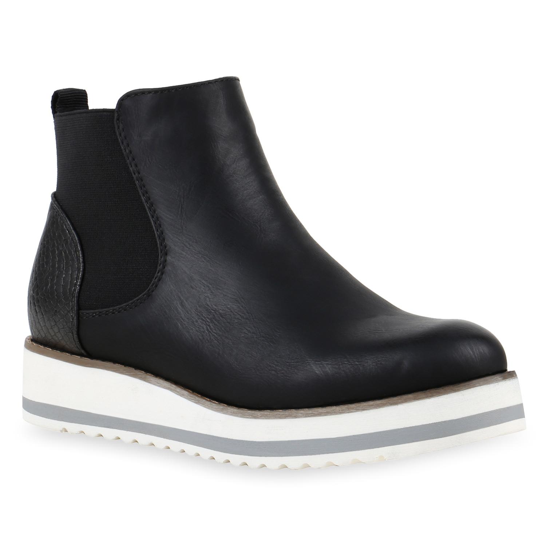 sportliche damen chelsea boots gef tterte stiefeletten. Black Bedroom Furniture Sets. Home Design Ideas