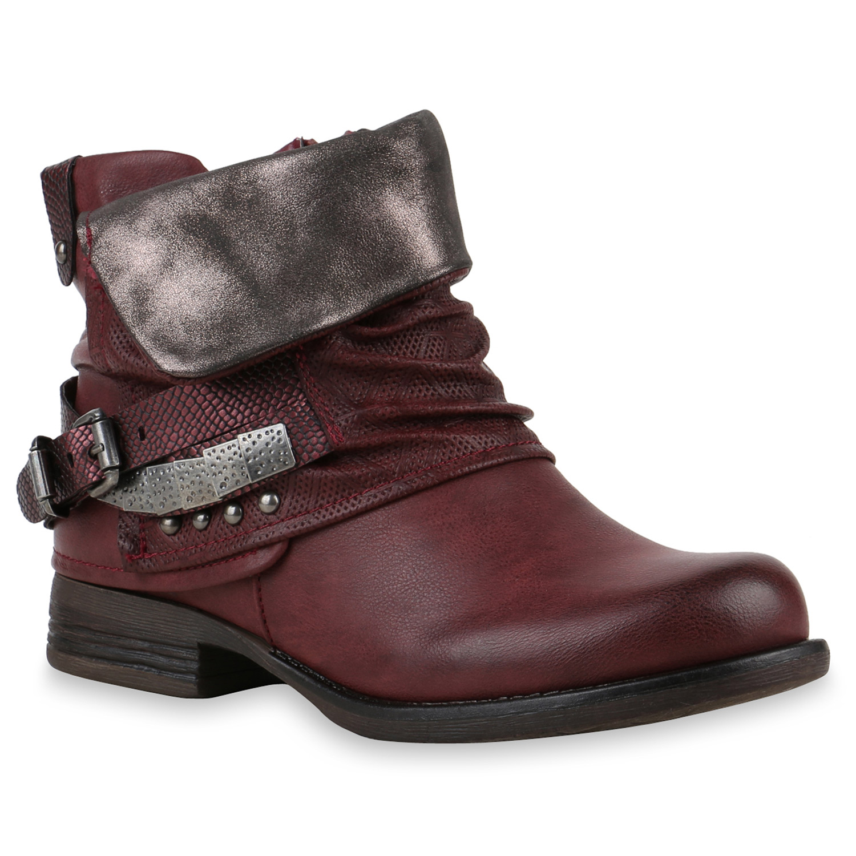 Gefuetterte-Damen-Biker-Boots-Nieten-Schnallen-Stiefeletten-812207-Top