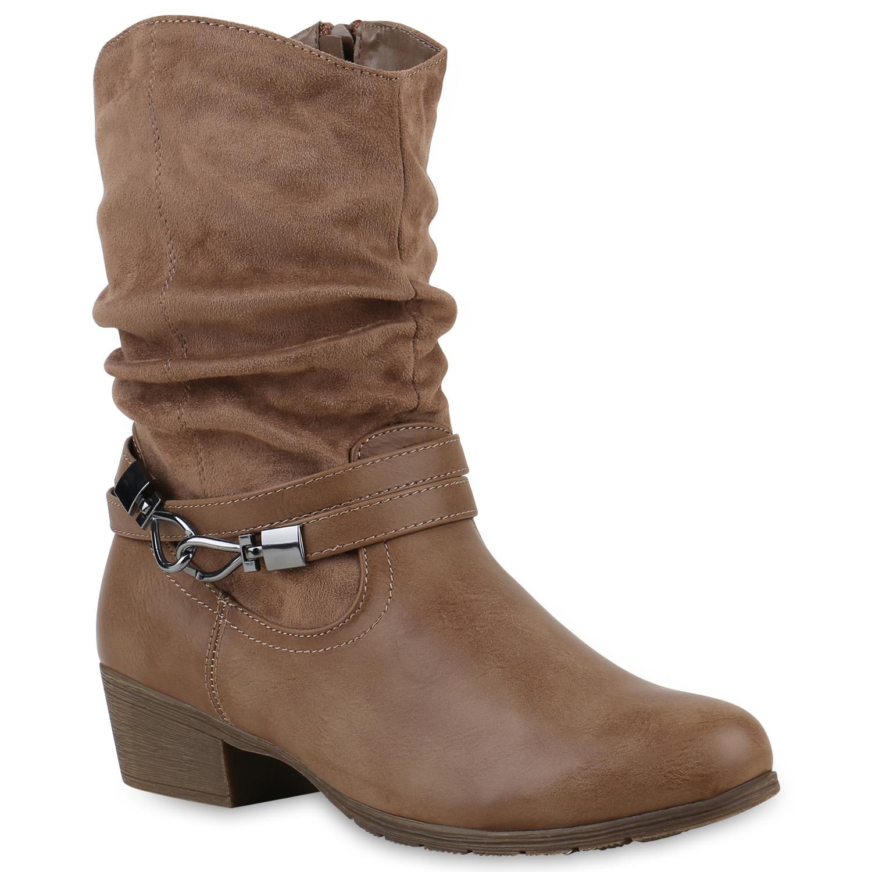 gef tterte damen cowboy boots stiefeletten western stiefel 812230 trendy ebay. Black Bedroom Furniture Sets. Home Design Ideas