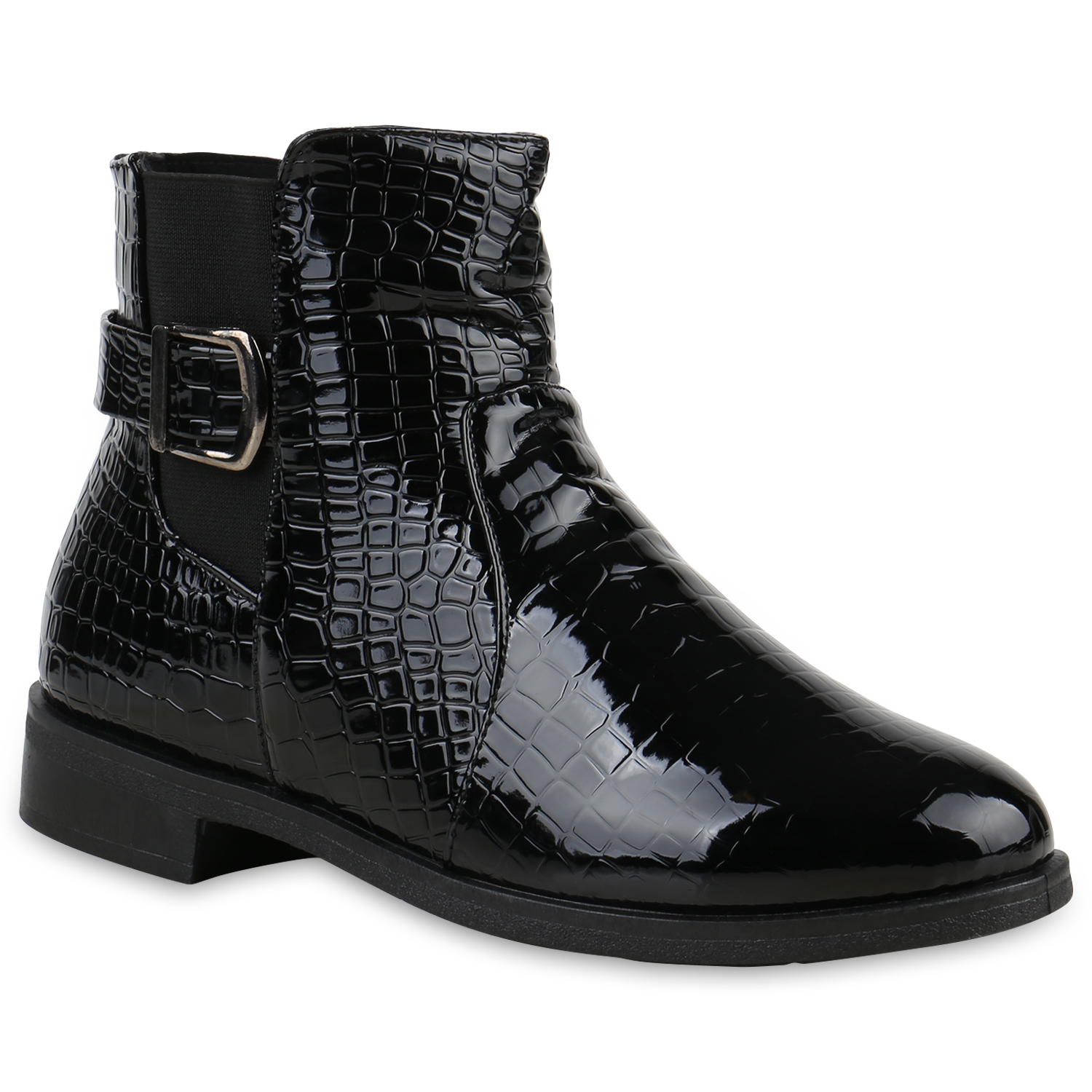 klassische damen stiefeletten lack schuhe kroko gef tterte 812239 ebay. Black Bedroom Furniture Sets. Home Design Ideas