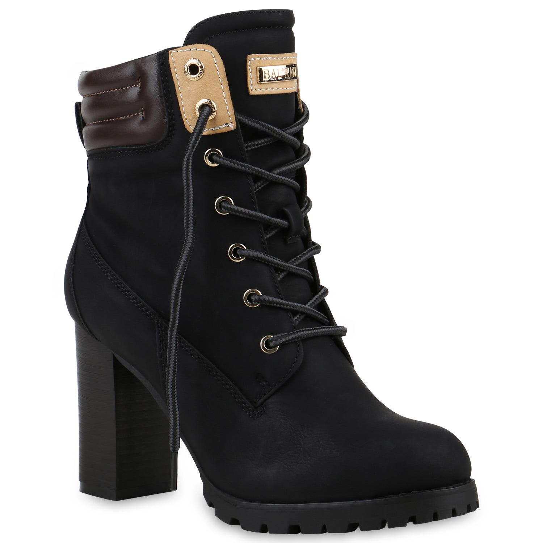 damen schn rstiefeletten worker boots stiefeletten block. Black Bedroom Furniture Sets. Home Design Ideas