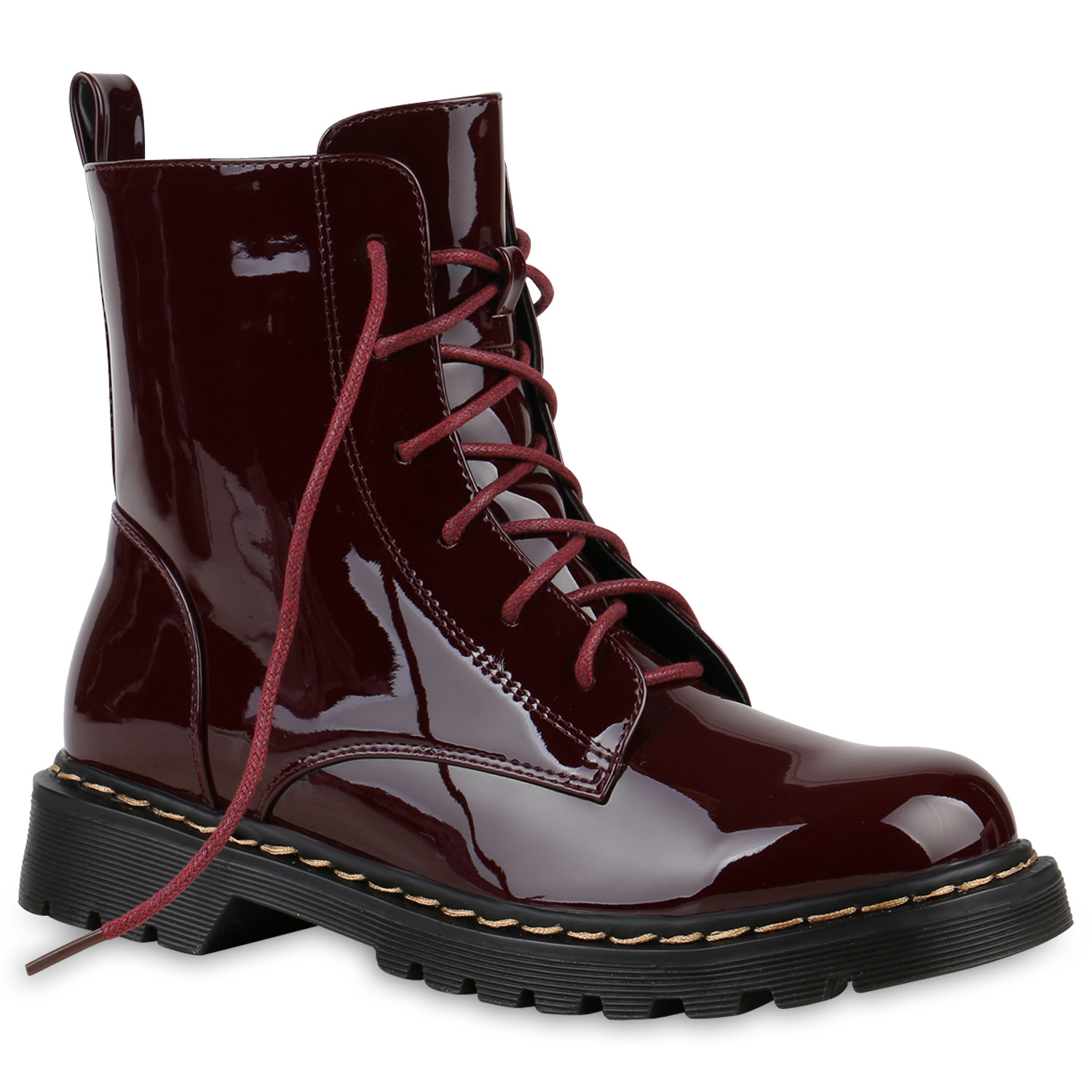 gef tterte damen worker boots lack grunge punk stiefeletten 812411 top ebay. Black Bedroom Furniture Sets. Home Design Ideas