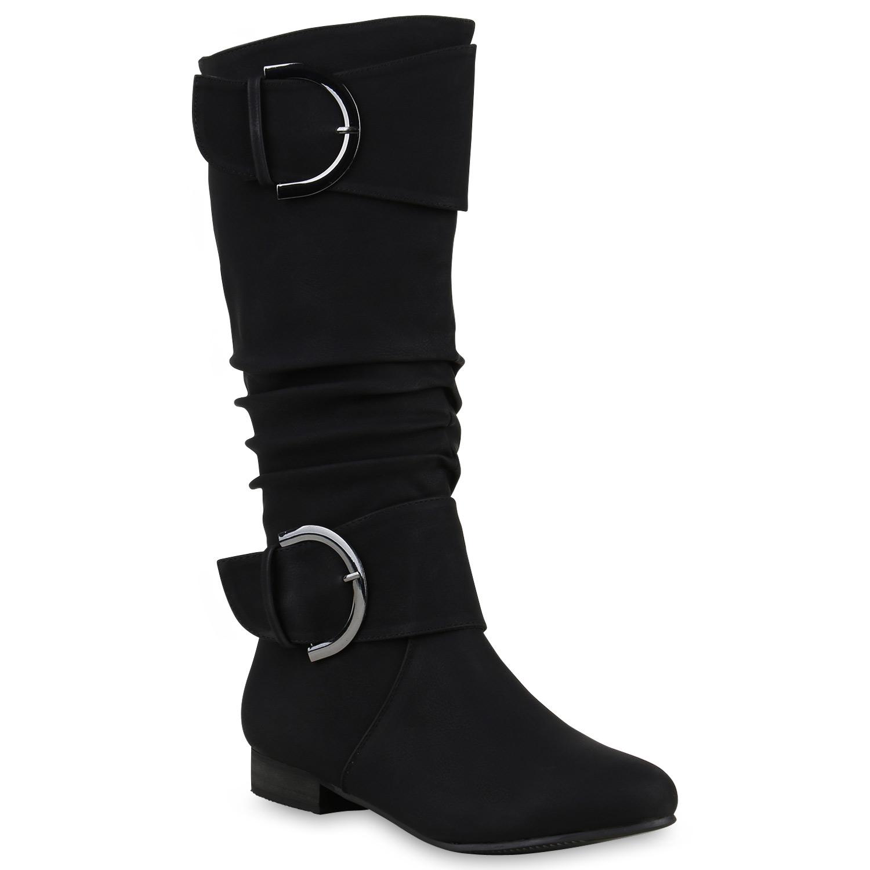 Klassische Damen Stiefel Langschaft Schnallen Lederoptik 812510 Hot