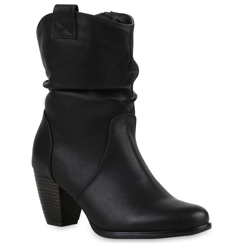 damen cowboy boots holzoptikabsatz stiefeletten western 812548. Black Bedroom Furniture Sets. Home Design Ideas