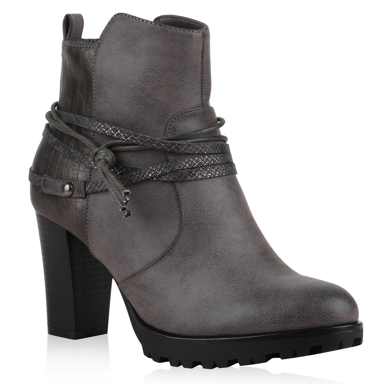 ankle boots damen nieten prints stiefeletten absatz 812559