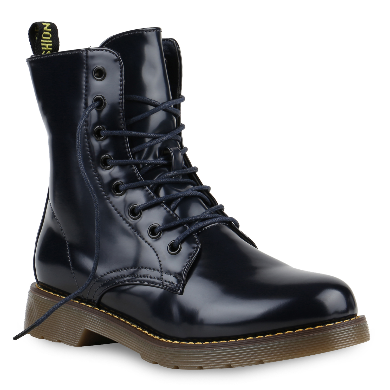 damen worker boots lack stiefeletten grunge profil sohle 812576 punk ebay. Black Bedroom Furniture Sets. Home Design Ideas