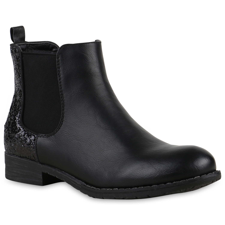 chelsea boots damen glitzer stiefeletten profil sohle. Black Bedroom Furniture Sets. Home Design Ideas