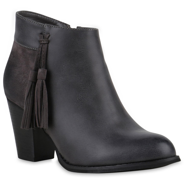 damen ankle boots quasten holzoptik absatz stiefeletten. Black Bedroom Furniture Sets. Home Design Ideas