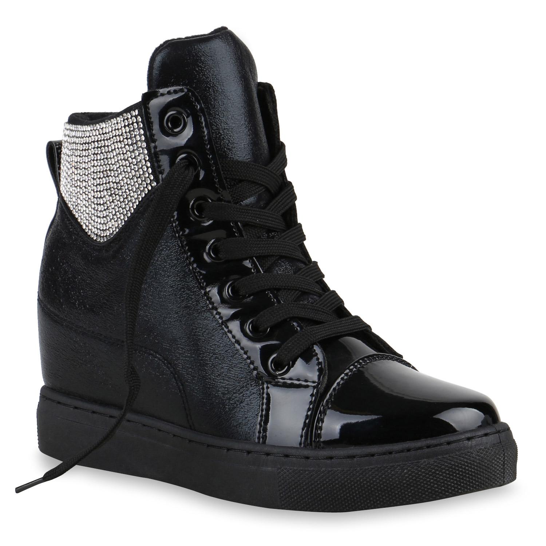 glitzer damen sneaker wedges strass turnschuhe freizeit. Black Bedroom Furniture Sets. Home Design Ideas