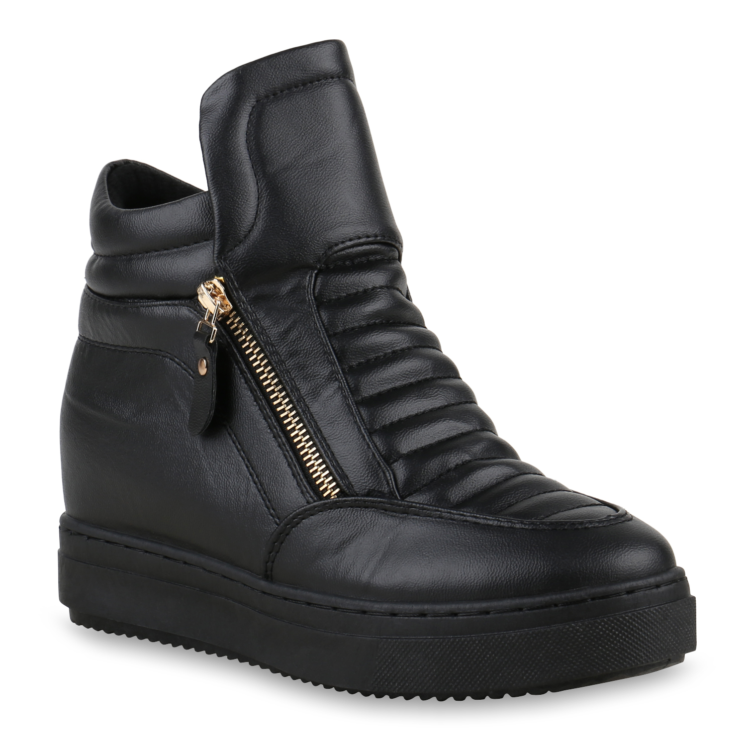 damen sneaker wedges plateau turnschuhe zipper freizeit 812744 ebay. Black Bedroom Furniture Sets. Home Design Ideas