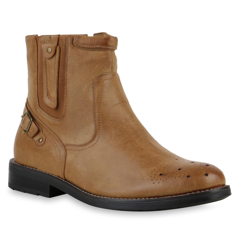 biker boots herren nieten schnallen lederoptik schuhe 812920 top ebay. Black Bedroom Furniture Sets. Home Design Ideas