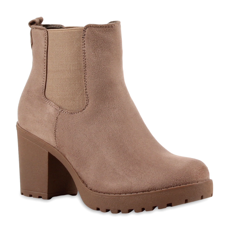 damen stiefeletten boots blockabsatz schuhe 891038 ebay. Black Bedroom Furniture Sets. Home Design Ideas