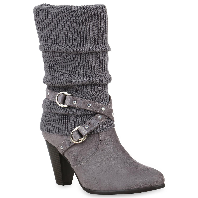 Damen-Stiefel-Strick-Stiefeletten-Schuhe-Gefuettert-98177-Gr-36-41