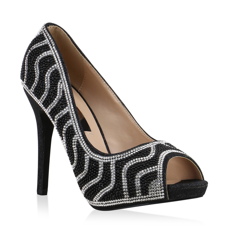 damen pumps strass glitzer peeptoes high heels party. Black Bedroom Furniture Sets. Home Design Ideas