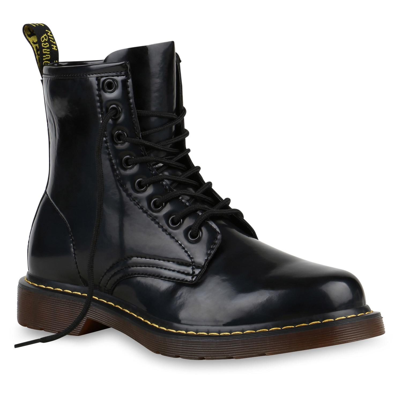 herren worker boots schwarze schn rstiefel lack profilsohle 813499 top ebay. Black Bedroom Furniture Sets. Home Design Ideas