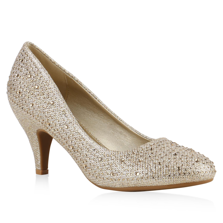 klassische damen pumps glitzer high heels strass schuhe 813503 ebay. Black Bedroom Furniture Sets. Home Design Ideas
