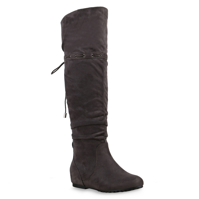flache damen stiefel overknees schwarze hochschaft boots. Black Bedroom Furniture Sets. Home Design Ideas