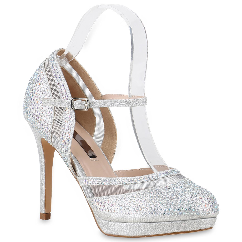 damen pumps party high heels riemchenpumps glitzer schuhe. Black Bedroom Furniture Sets. Home Design Ideas