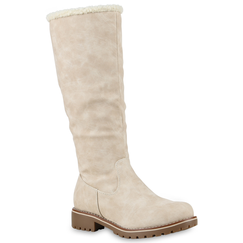 gef tterte damen stiefel flache winterstiefel kunstpelz boots 813658 ebay. Black Bedroom Furniture Sets. Home Design Ideas