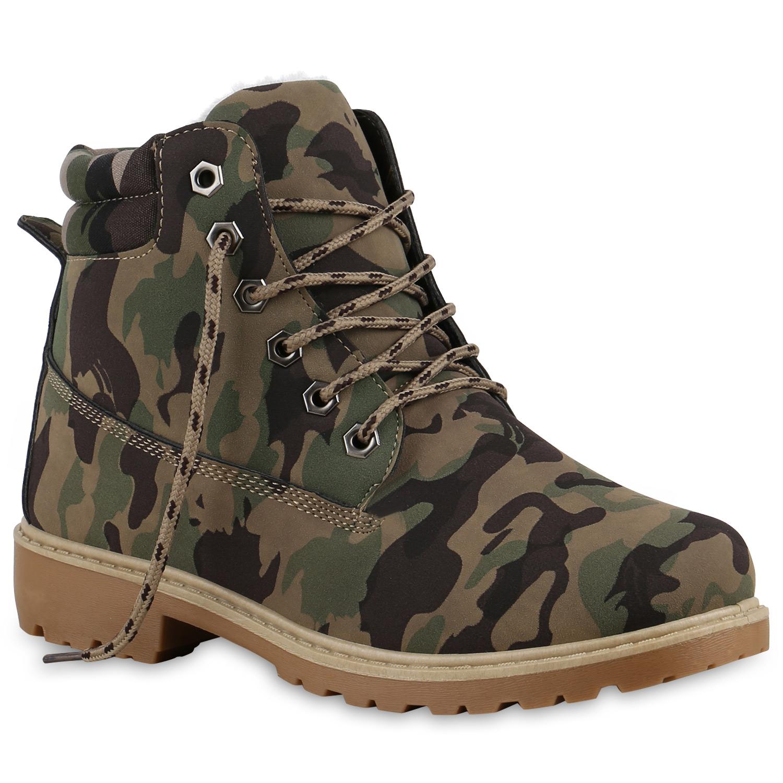warm gef tterte damen stiefeletten boots schuhe camouflage 813774 new look ebay. Black Bedroom Furniture Sets. Home Design Ideas