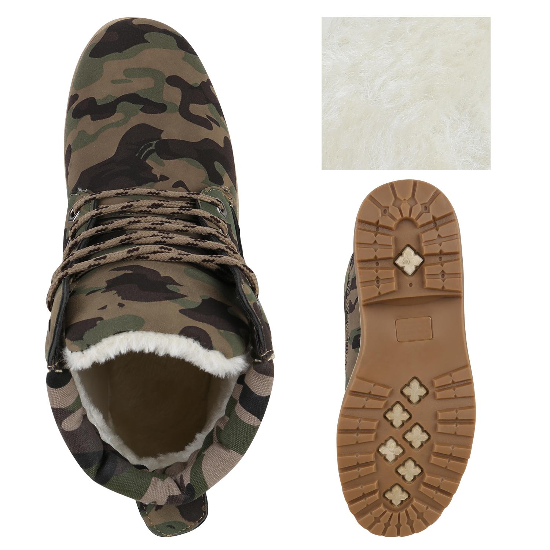 warm gef tterte damen stiefeletten boots schuhe camouflage 813774 ebay. Black Bedroom Furniture Sets. Home Design Ideas