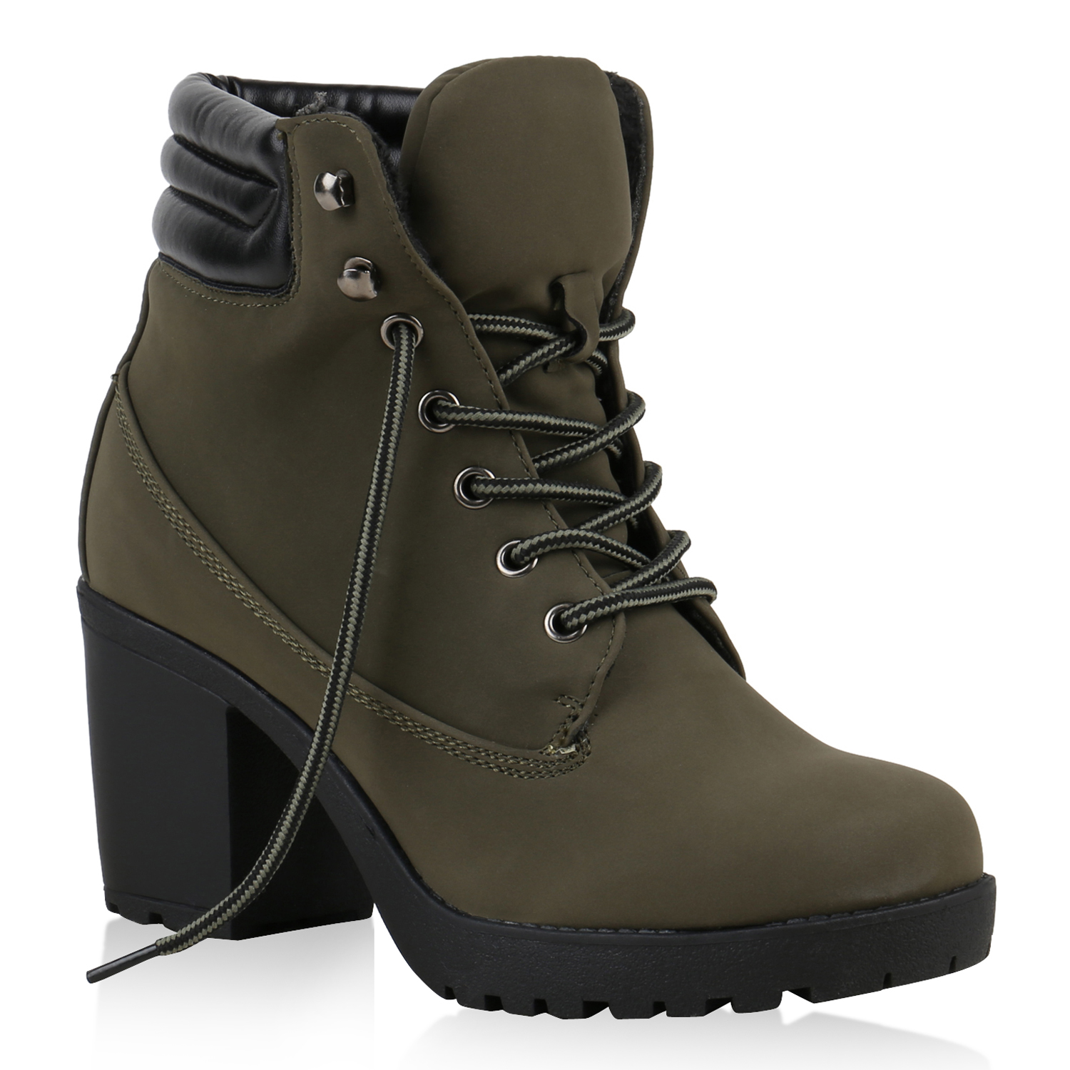 damen worker boots profil sohle block absatz stiefeletten 811964 ebay. Black Bedroom Furniture Sets. Home Design Ideas