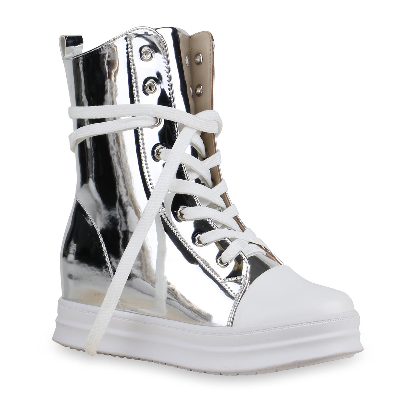 damen sneakers keilabsatz high top sneaker wedges lack metallic 813826 ebay. Black Bedroom Furniture Sets. Home Design Ideas