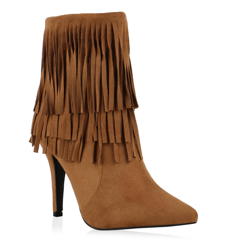 gef tterte damen stiefeletten fransen boots high heels. Black Bedroom Furniture Sets. Home Design Ideas