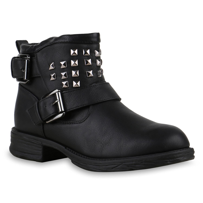damen stiefeletten biker boots stiefel nieten schuhe. Black Bedroom Furniture Sets. Home Design Ideas