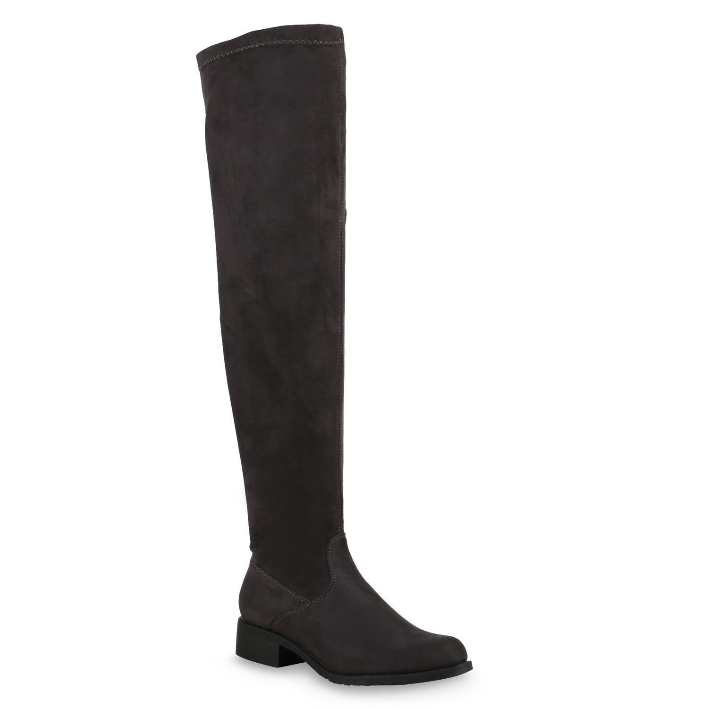flache damen stiefel overknees lederoptik langschaft boots. Black Bedroom Furniture Sets. Home Design Ideas