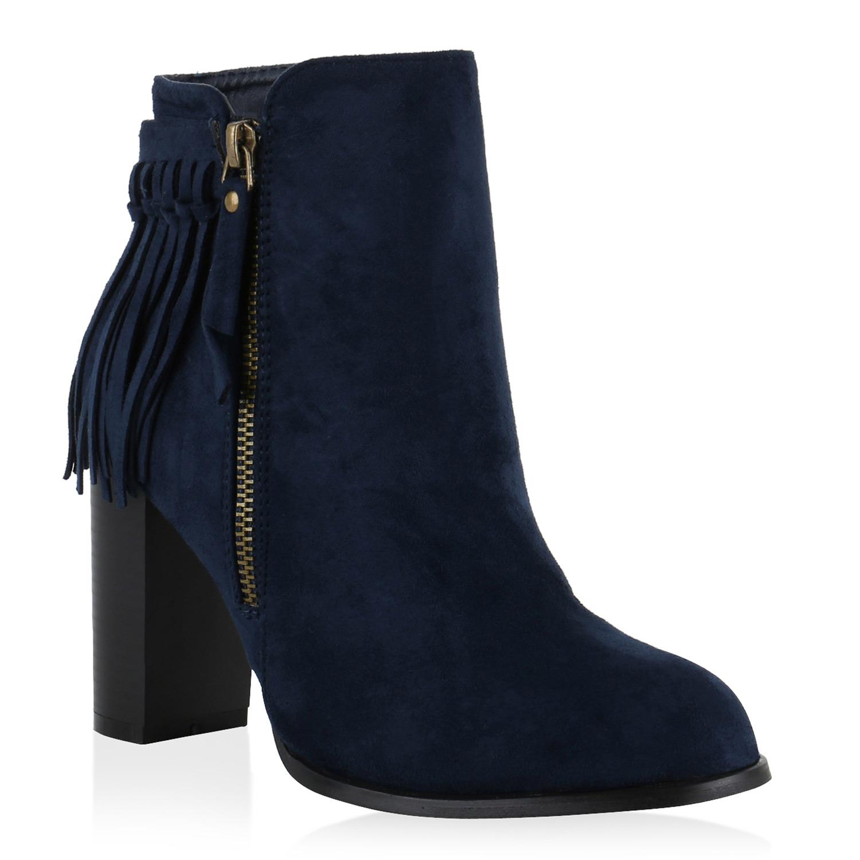 ankle boots damen stiefeletten fransen zipper block absatz. Black Bedroom Furniture Sets. Home Design Ideas