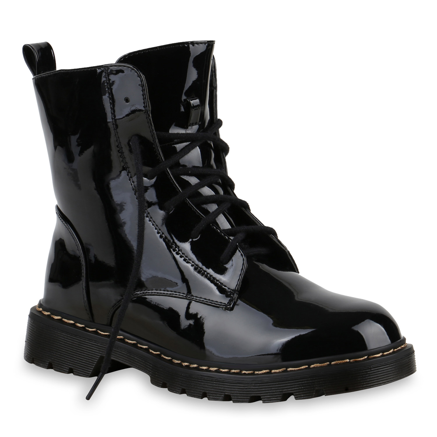 damen stiefeletten lack schn rstiefeletten worker boots schuhe 814058 ebay. Black Bedroom Furniture Sets. Home Design Ideas