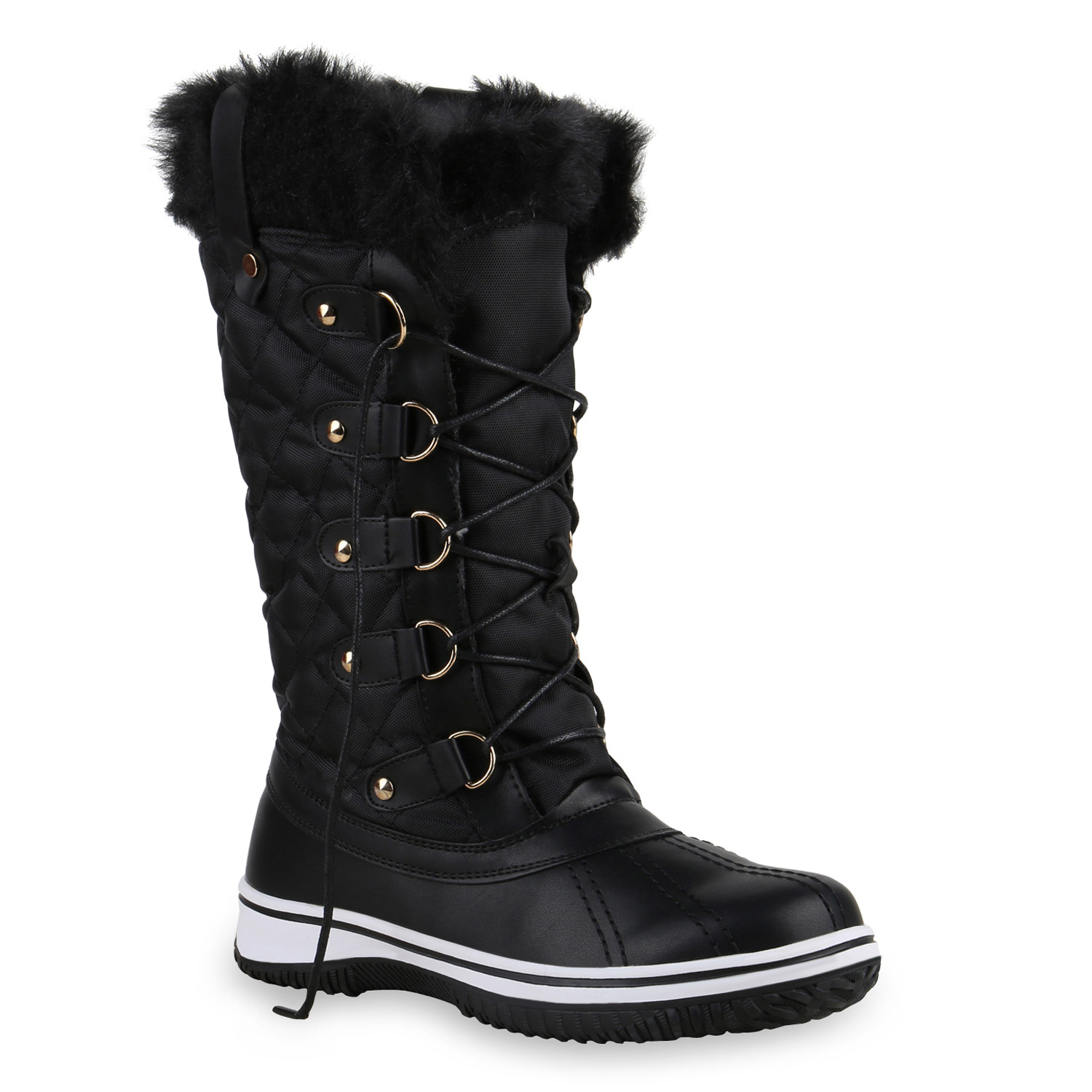 warm gef tterte damen stiefel winterstiefel snow boots schuhe waterproof 814081 ebay. Black Bedroom Furniture Sets. Home Design Ideas