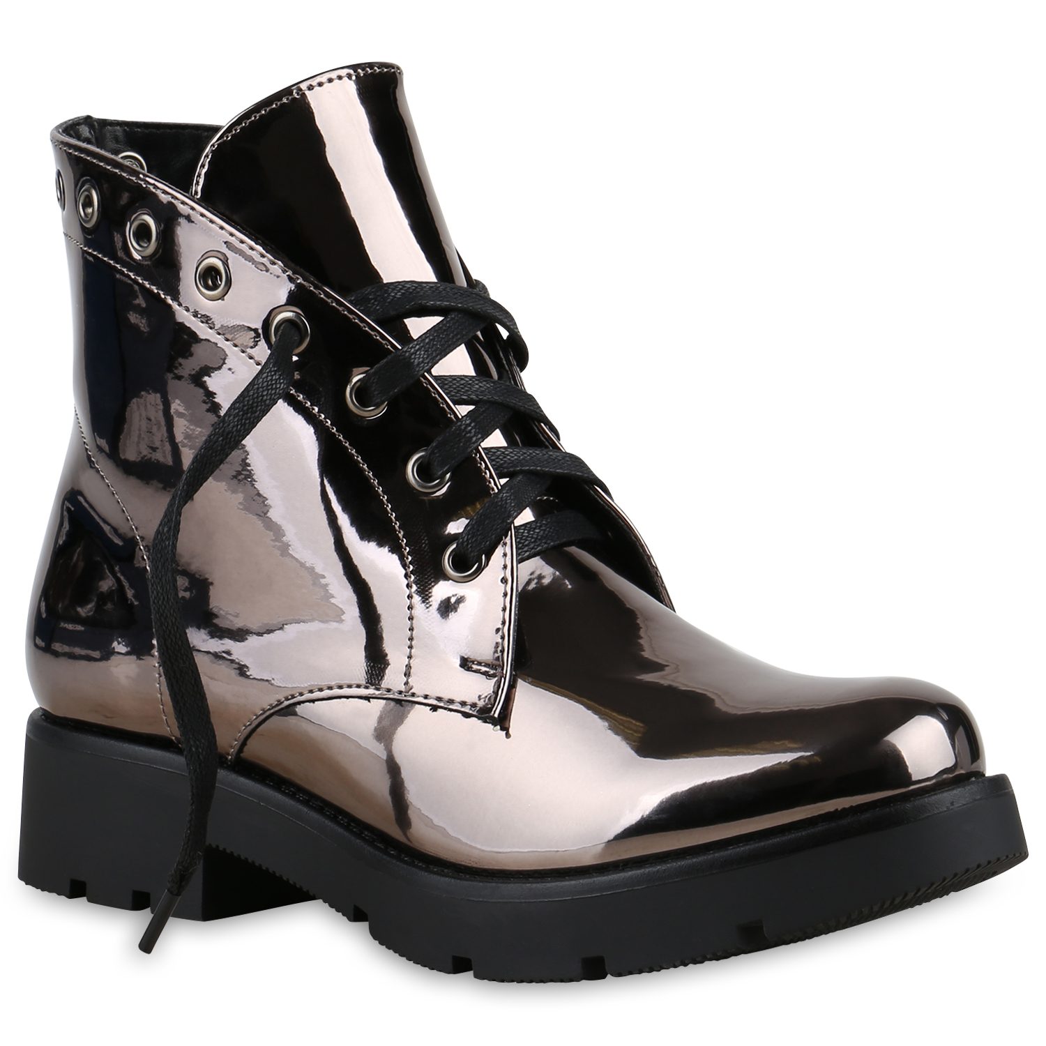 damen stiefeletten lack metallic boots schn rstiefeletten schuhe 814094 top ebay. Black Bedroom Furniture Sets. Home Design Ideas