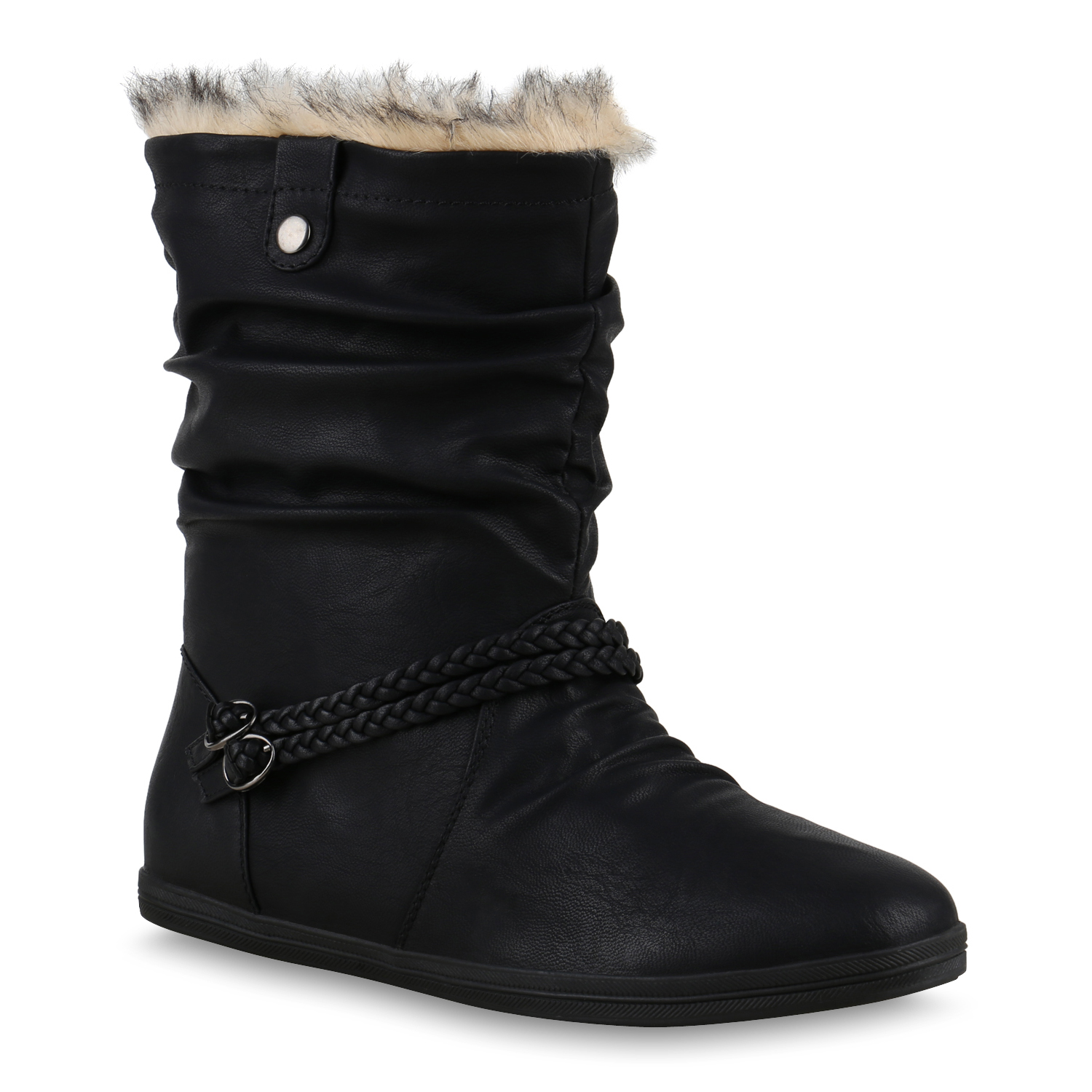 gef tterte damen winter stiefeletten boots winterschuhe bergr en 814097 ebay. Black Bedroom Furniture Sets. Home Design Ideas