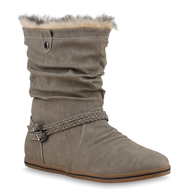 gef tterte damen winter stiefeletten boots winterschuhe. Black Bedroom Furniture Sets. Home Design Ideas