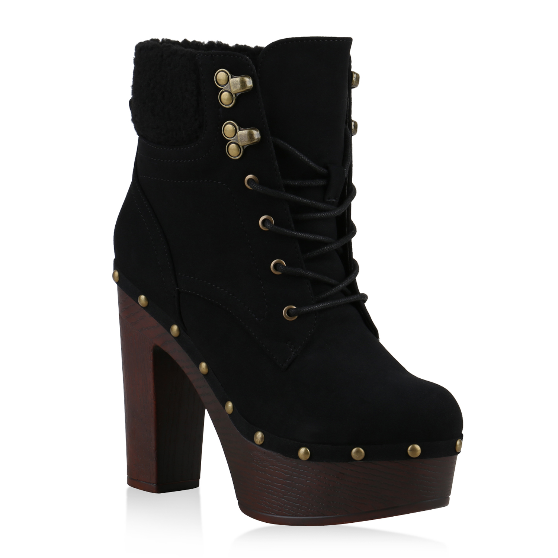 damen stiefeletten plateau boots nieten blockabsatz high. Black Bedroom Furniture Sets. Home Design Ideas