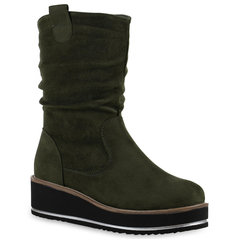 gef tterte damen stiefeletten keilabsatz winterstiefel boots 814129 ebay. Black Bedroom Furniture Sets. Home Design Ideas