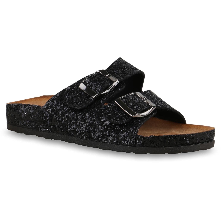 damen komfort sandalen slipper glitzer profilsohle schuhe. Black Bedroom Furniture Sets. Home Design Ideas