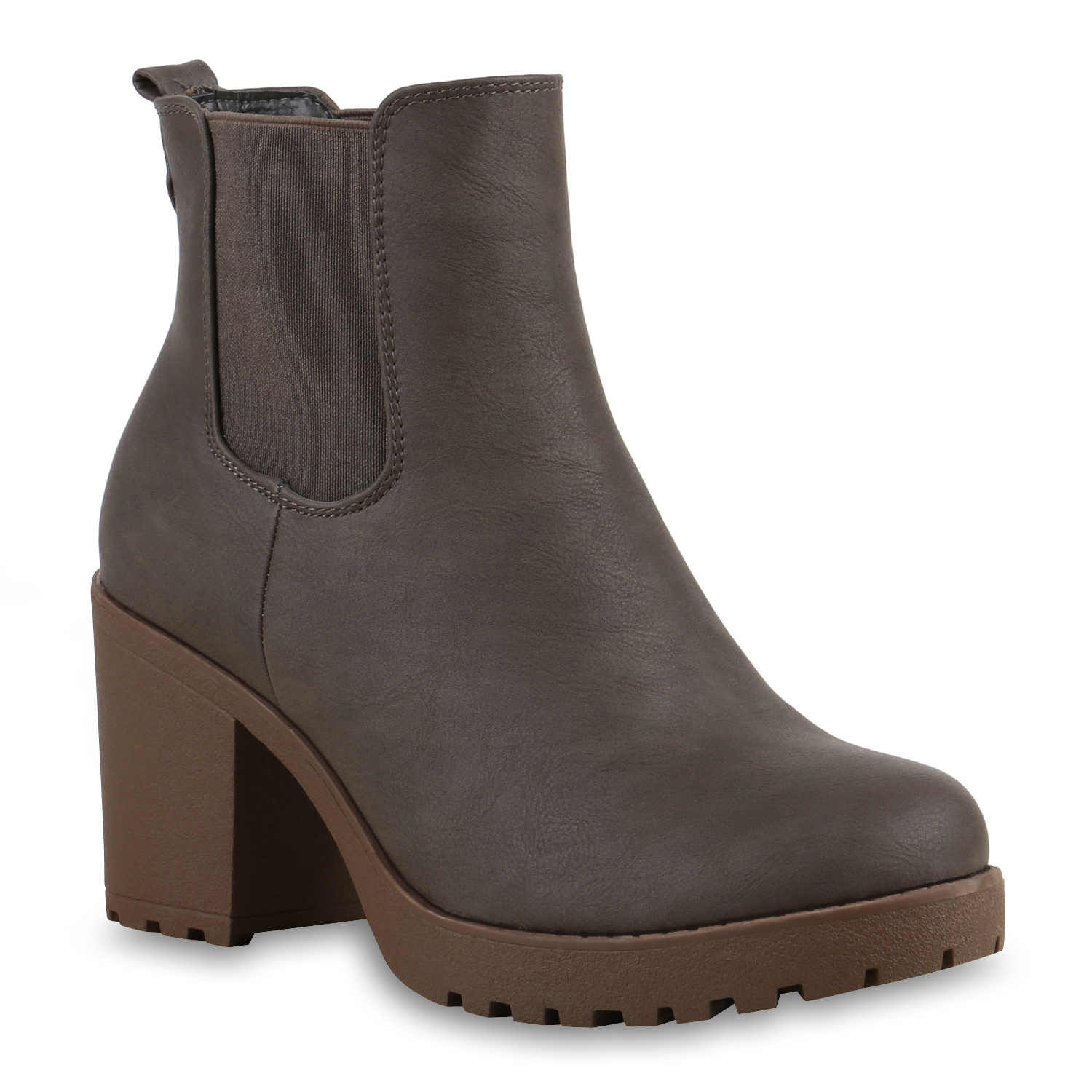 damen stiefeletten chelsea boots profilsohle 70 s schuhe 76870 mode ebay. Black Bedroom Furniture Sets. Home Design Ideas